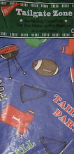 "Tailgate Zone Football Party vinyl flannel backed tablecloth 60"" rd"