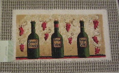 Good Friends Wine Life Fat Chef Grapes 3 wine bottles Kitchen Mat Rug 18 x 30