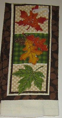 Kitchen Towel Happy Harvest Brown Leaves Set of 2