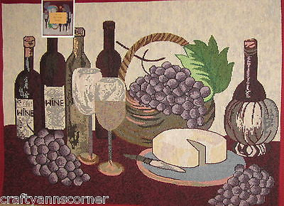 Wine Bottles Grapes Cheese Vineyard Tuscany Tapestry Kitchen Mat Rug 19 x 27