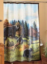 Black Bear Cabin Lodge Woodland Rustic Lodge Fabric Shower Curtain
