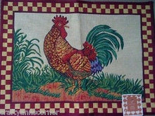 Tapestry Rug Country Rooster Red Check Border Kitchen Mat 19 x 27