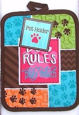 Animal Lovers Dog Rules potholder