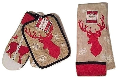 Reindeer in the Snow with Cardinals 3 pc kitchen towel potholder oven mitt set