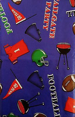 Tailgate Zone Football Party vinyl flannel backed tablecloth 60