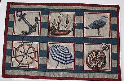 Tapestry Placemats Set of 4 Nautical Sampler Seagull Sailboat Anchor Helm