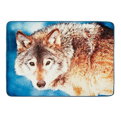 Oversized Wildlife Throw Fur Blanket Wolf 50