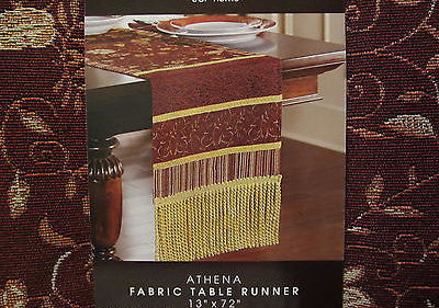 Chris Madden Athena Reds Golds Tapestry Table Runner 13x72