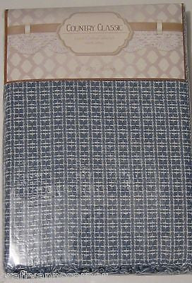 Country Classics Homespun Cotton Tablecloth 52 x 72 Oblong Blue Hand Knotted