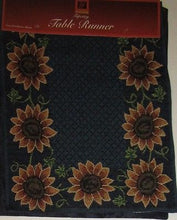 Sunflowers Tapestry Table Runner 13x72 Windham Blue