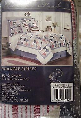 Chelsea Park Triangle Stripes Red Blues White Americana Plaid Euro Sham