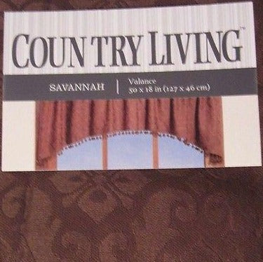 Country Living Savannah Chocolate Brown Jacquard 50w x 18l Ball Fringe Valance