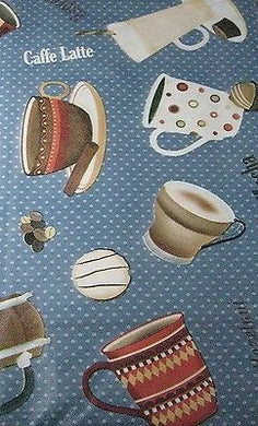 Blue Latte Mocha Coffee Espresso Java vinyl flannel back tablecloth 60 inch Round