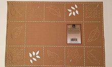 "Placemats Set of 4 Leaf Grid Sam Hedaya Homewear 13"" X 19"" Gold"