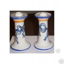 Blue White Yellow Ribbon and Bow Candle Holders Candlesticks