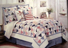 Standard Pillow Sham Chelsea Park Triangle Stripe Red Blue White Americana Plaid