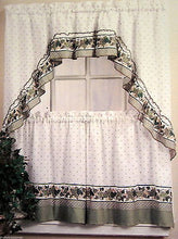 Cottage Ivy White Green Tailored 24L Tiers Ruffled Swag Set Kitchen Curtains