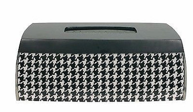 Blonder Home Houndstooth Resin Black White Elongated Tissue Box Cover