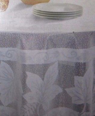 Tablecloth Lace Falling Leaves Maple Leaf White 70 inch round