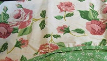 Green Pink Roses Floral Scallop Valance Curtain 50 x 16