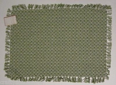 Country Classics Homespun Cotton Placemat Green Hand Knotted Set of 4