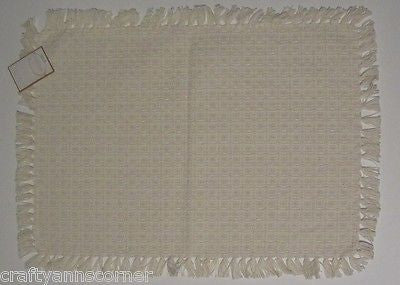Country Classics Homespun Cotton Placemat Ivory Hand Knotted Set of 4