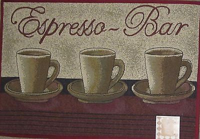 Espresso Bar Tapestry Kitchen Mat Accent Rug 20 x 30 Coffee Cups