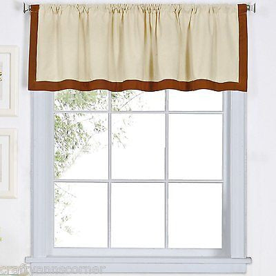 Wilton Banded Kitchen Curtain Valance Spice Linen Rust Red