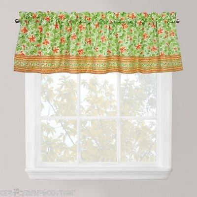 Park Smith Boutique Flowers Tangelo Floral Green Orange Rust Valance