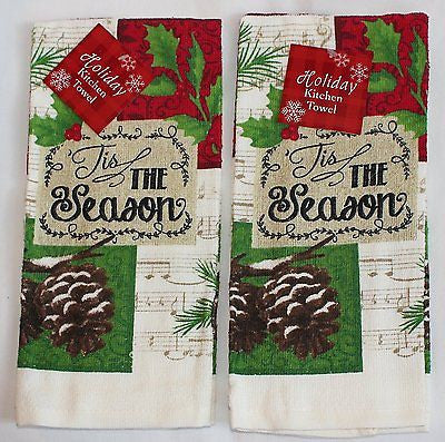 Tis The Season Pine Cones Set of 2 kitchen towels