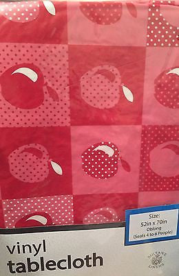 Red Apples vinyl flannel back tablecloth 52 x 70 Oblong