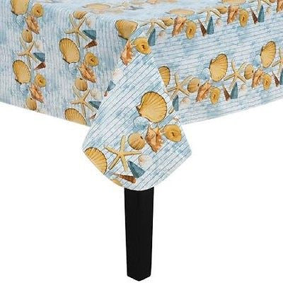 Seashells Vinyl Flannel Back Tablecloth 70