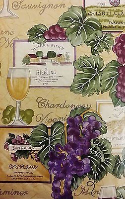 Tuscan Wine Grapes Vinyl Flannel Back Tablecloth 52 x 90 Oblong Elrene