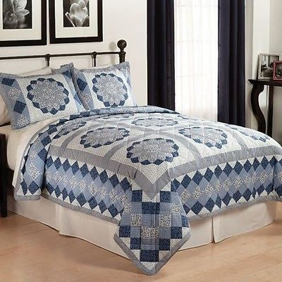 Twin Quilt Set Blue Dahlia Ivory Blue Grey Medallions