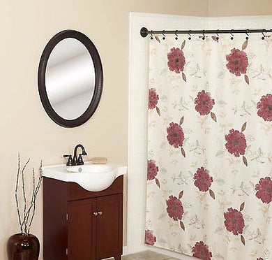 Martika Anthology Floral Burgundy Fabric Shower Curtain