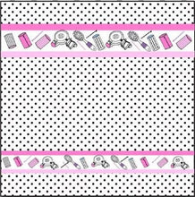Hair Salon Dots Black Pink White Brushes Dryer Home Wear Fabric Shower Curtain