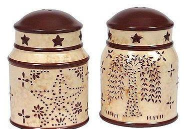 Blonder Home Linda Spivey Punched Tin Country Kitchen Salt and Pepper Shaker Set