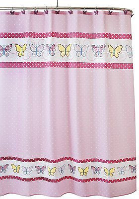 Butterfly Dots Pink Home Wear Fabric Shower Curtain