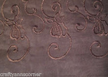 Lindsay Chocolate Brown Sheer Embroidered 55 x 216 Scarf Valance