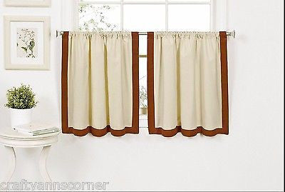 Wilton Banded Kitchen Curtain 36 inch Tier Set Spice Linen Rust Red