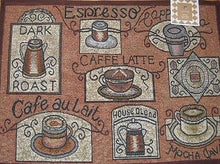 Tapestry Rug Dark Roast Espresso Cappuccino Coffee Kitchen Mat 19 x 27