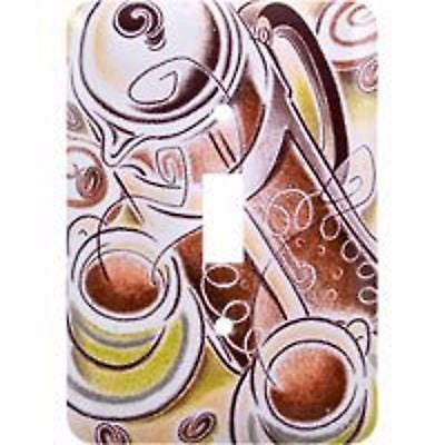 GE 40128 Single Switch Coffee Scene Wall Plate Painted Steel