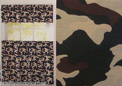 Kitchen Curtain Set Camo Camouflage Green Tan Brown Cabin 36L Tiers Valance