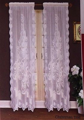 Christmas Trees Lace White Curtains 63L Panels Set of 2