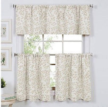 Serene Leaf Linen Kitchen Curtain 36 inch Tier and Valance Set