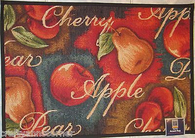 Tapestry Rug 19 x 27 Windham Cherry Apple Pear Fruit Country theme Kitchen