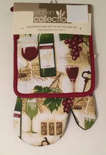 Wine Bottles Glasses Grapes Neoprene Oven Mitt Potholder 2 pc Set