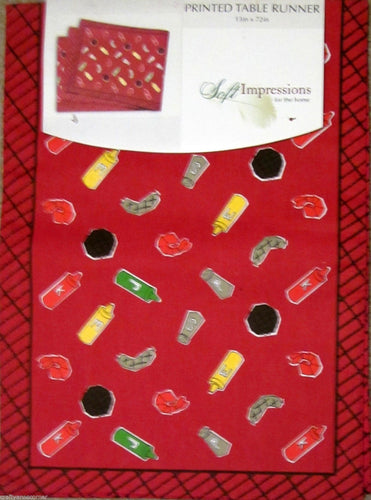 Picnic BBQ Barbeque Ketchup Mustard Burgers Hot Dogs Table Runner 13x72