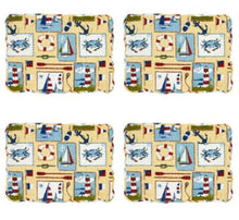 Nautical Sailboat Reversible Quilted Placemats Set of 4