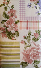 "Pink Roses and Violets Floral Patchwork Vinyl Flannel Back Tablecloth 60"" Round"